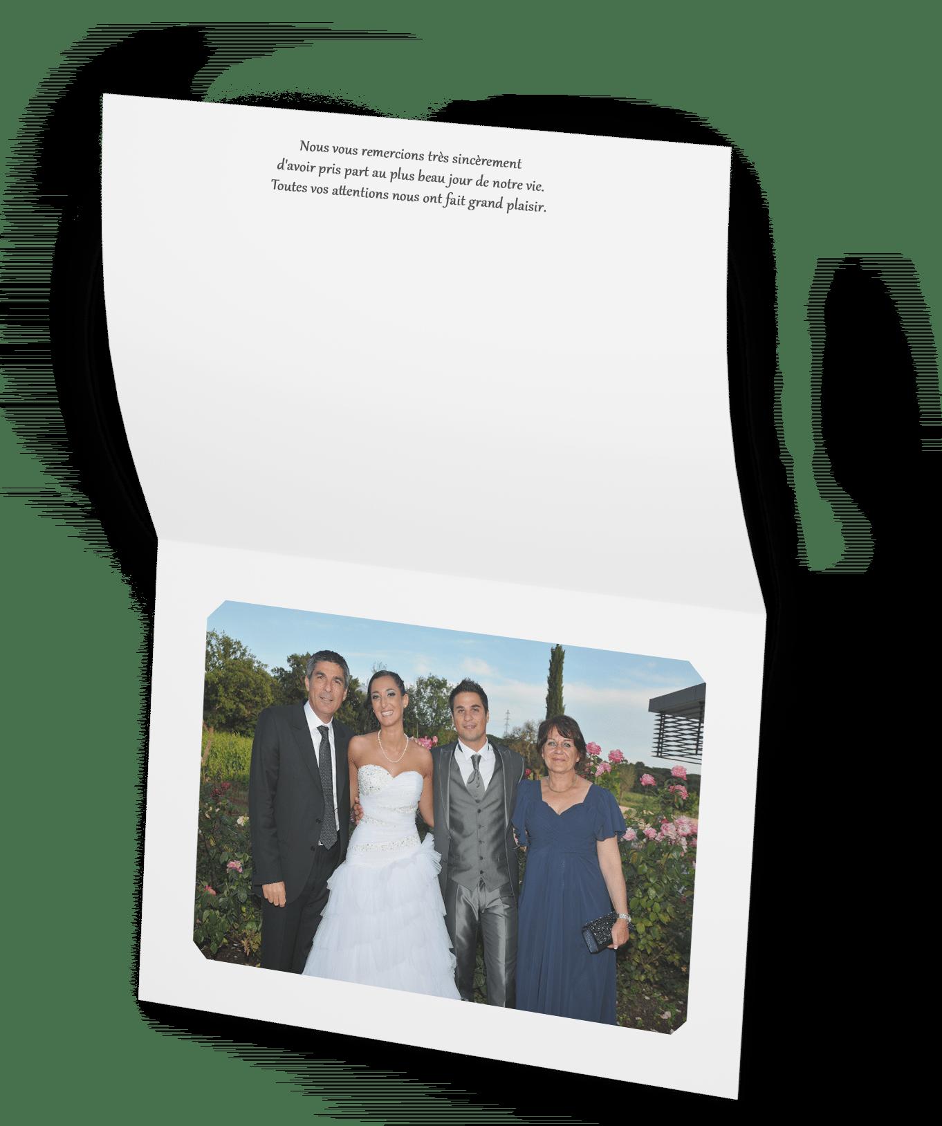Tarif Remerciement photo mariage